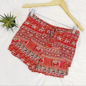 LOVE CULTURE Elephant Tie Zipper Aztec Shorts Red
